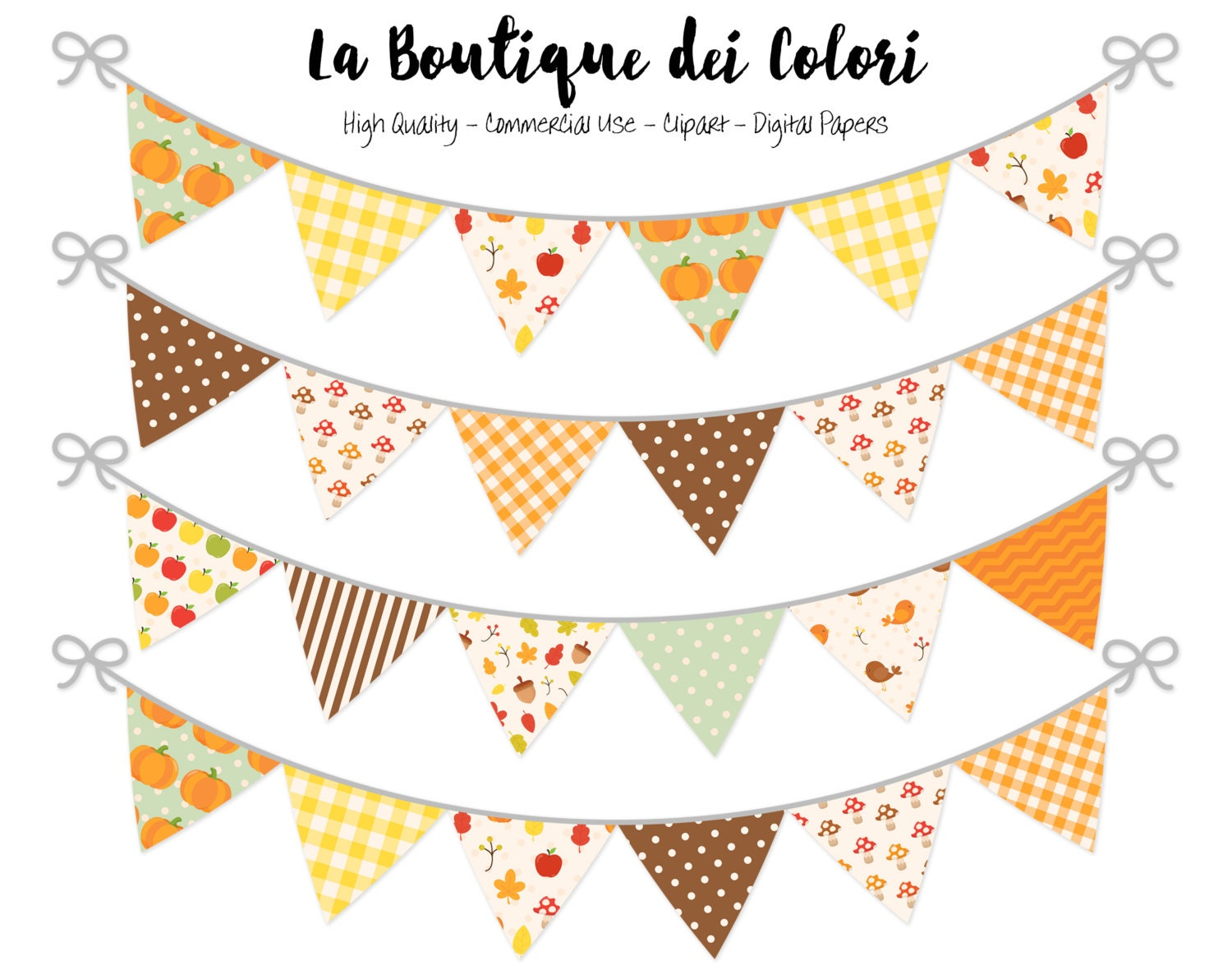 Fall Bunting Banners Party Flags clipart Thanksgiving