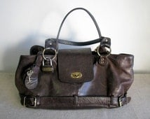 Leather handbag Ladies leather satchel OLLY London womens purse dark chocolate brown shoulder bag large purse pouch purse for her girl / l10