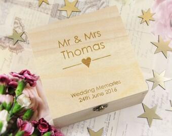 Personalised & Engraved Rustic Wedding Memories Box - Couples Box, Wedding Gifts, Wedding Keepsake Box, Personalised Wedding Boxes