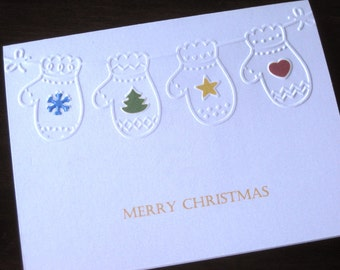 Mittens embossed  Christmas Cards,  card set,pearlescent Christmas greeting cards pearlescent cards, set of 10 cards