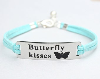 Butterfly Kisses, Stainless Steel Charm Bracelet, Adjustable Faux Suede Leather Cord Bracelet, Wedding, Daddy's Little Girl, Daughter, ST755