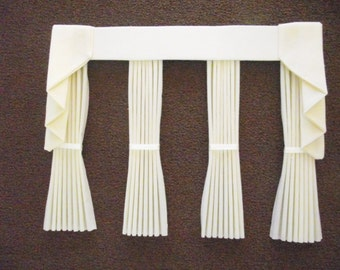 Miniature doll house plain curtains drapes with straight pelmet  and tie backs bay window cream