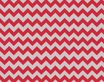 One Yard Small Holiday and School Colors Chevron - Red / Gray - Cotton Quilt Fabric - C400-04 - Riley Blake Designs (W3324)