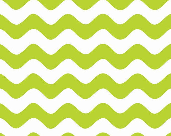 Half Yard Wave - Waves in Lime Green - Cotton Quilt Fabric - RBD Designers for Riley Blake Designs - C415-32 (W3291)