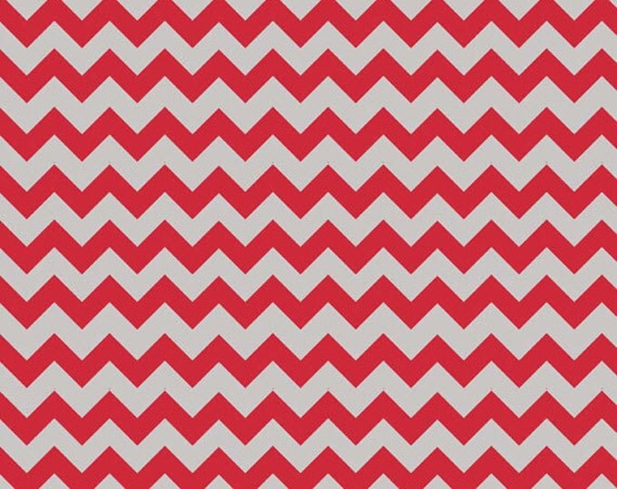 Half Yard Small Holiday and School Colors Chevron - Red / Gray - Cotton Quilt Fabric - C400-04 - Riley Blake Designs (W3324)