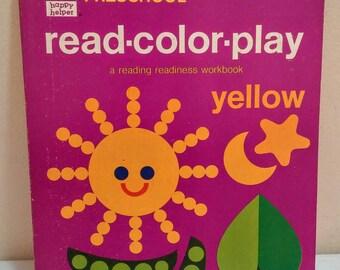 1971 Preschool Activity Book Read Color Play retro graphics
