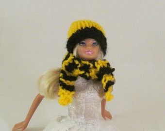 Black and Gold Doll Hat and Scarf Set