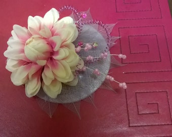 Lilac and cream fascinator