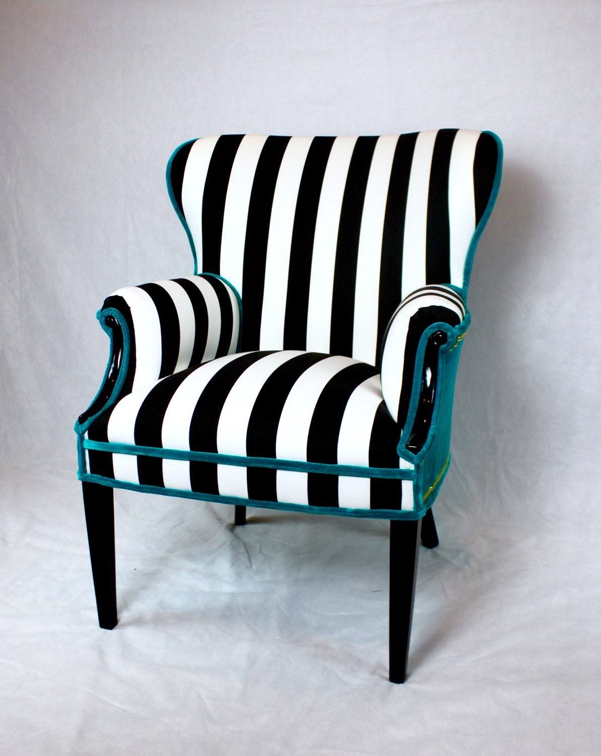 sold black and white striped vintage round wing back chair. Black Bedroom Furniture Sets. Home Design Ideas