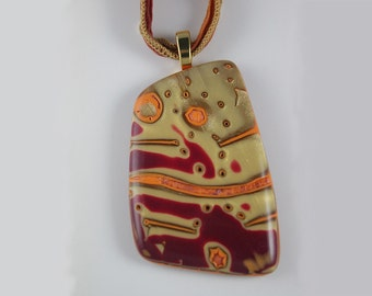 Red and Gold Polymer Clay Pendant