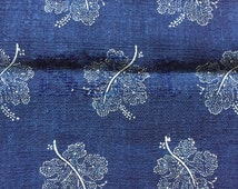 Grain Sack Indigo Blue White Grapevine Flower Vintage Linen Grainsack Upholstery Fabric Nautical for Sewing Projects Pillow Cover 114 x 49