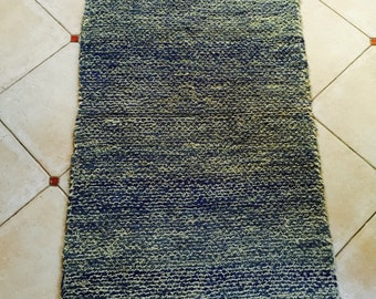 1.53m Vintage Swedish Rag Rug Blue Natural Wool Chunky Colored Stripey Rag Rug Runner Upcycled 1930s Floor Cover European Interior Antique