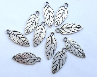Silver leaf charms, antique silver pack of 10 30mm leaves CS028