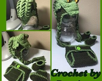 Crochet NB through 12 mos baby alligator crocodile gator croc outfit photography props