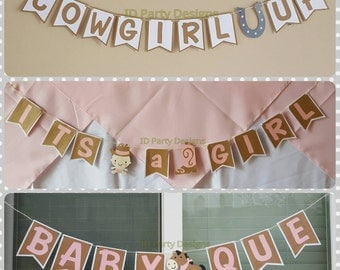 COWGIRL BABY SHOWER banners Cowgirl Up, Baby Que, It's a Girl, centerpieces, cupcake toppers