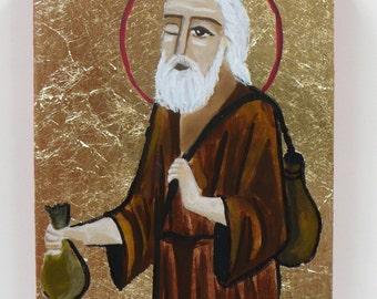 Saint Simon de schoenmaker hand geschilderde icoon door Rania Kuhn, Egyptische Koptisch-orthodoxe pictogram
