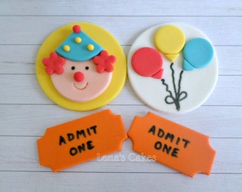 Circus Carnival Edible Fondant Cupcake Topper Party Decor, Birthday Baby Shower Decoration, Clown Balloon, Whimsical Party - set 12
