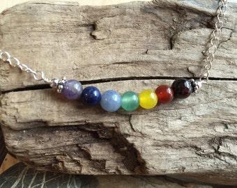 Rainbow Chakra Semi-Precious Stone Sterling Silver Necklace