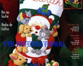 """Bucilla Christmas Hugs ~ 18"""" Felt Stocking Kit #84589 Santa, Animals, Bird. NIP DIY"""