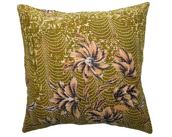 Kantha Cushion Cover - Olive green with apricot - Large - 50cm x 50cm (19.7 inches x 19.7 inches)