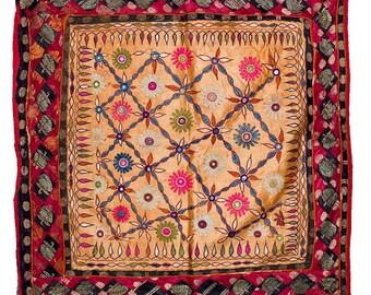 VINTAGE TEXTILE - Fine Vintage Chakla in flower design on pale apricot silk.