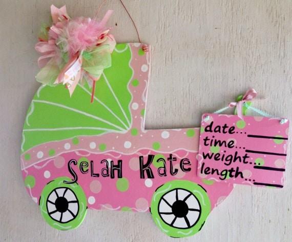 Baby Carriage Door Hanger/Hospital Door Hanger* Hand Painted Wood ...