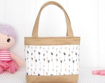 Little Girls Bag / Mini Tote Bag / Girls Bag / Kids Bag / Girls Purse - Luxe Gold Arrows