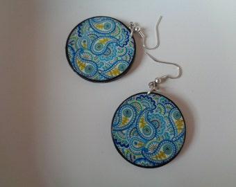 Handmade Round circle wooden hand printed paisley earrings