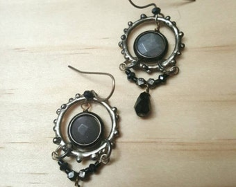 Earrings, Ionized Hematite and Labradorite with Silver-Plated Chain