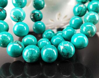 Full Strand 42pcs 10mm Turquoise Gemstone Smooth Round Beads