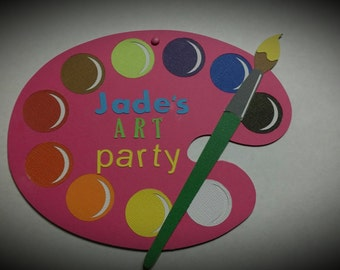 ART PARTY INVITATIONS - Painting Party Invitations - Birthday Party Invitations Set of 8