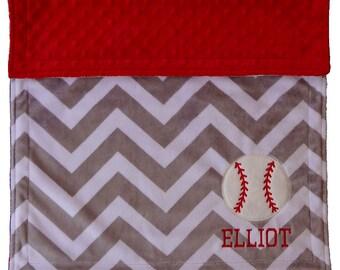 Baseball Baby Blanket, Chevron Grey and Red Minky Blanket, Personalized Baseball Blanket, Baseball Nursey