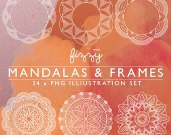 PNG: 24 x Mandala Indian inspired  Spirograph illustrations frame border digital clipart in PNG 300dpi format. CA0063