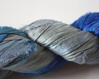NEW** - Hand Dyed Double Colour Recycled Sari Silk Ribbon - 'Frozen'
