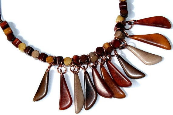 Natural Tagua Nut Statement Necklace in Warm Shades of Brown, Contemporary, Tribal Necklace
