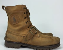 Size 9  Mens - Polo Ralph Lauren Leather Boots - Vintage Brown Ankle Boots