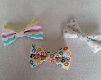 Little Boy Bow ties Easter Theme BowTies Clip On Jelly Bean Ribbon and Dots
