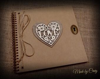 Square Scrapbook, Vintage Style, Photo Album/Guest Book, Wedding/Engagement Gift, Birthday/Valentines Present, Brown Kraft, Rustic