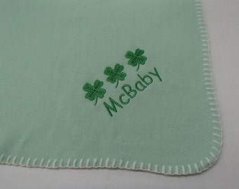 Irish Shamrocks with McBaby Embroidered Mint Green Fleece Baby Blanket