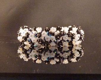 Black and White Flower Patch Bracelet