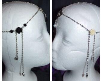 Crystal Head Chain, Bridal Head Dress, Boho Bride, Wedding Head Dress, Bridal Head Band, Gothic Gifts, Bridal Head Jewelry, Gothic Jewelry