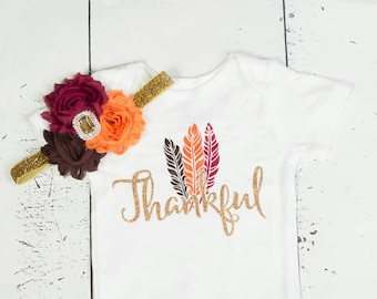 THANKFUL bodysuit, Thanksgiving Outfit, Girls Thanksgiving, My 1st Thanksgiving, Baby's First Thanksgiving, Baby Girl Thankful Outfit