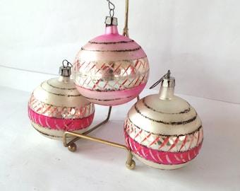 3 Antique Pink Glass Ornaments, Vintage Ornaments, Christmas Ornaments