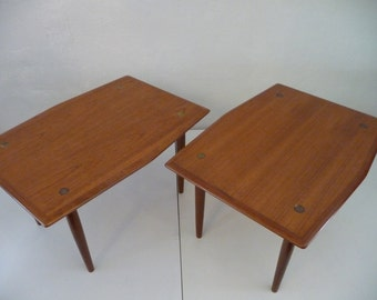 Pair of DUX Teak End Tables or Occasional Tables Made in Sweden