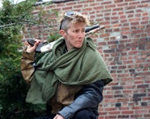 Post Apocalyptic Shawl Wrap Shemagh, Drab Green Drape Wrap, Wasteland Shoulder Cowl, Ragged Cotton Lightweight Scarf