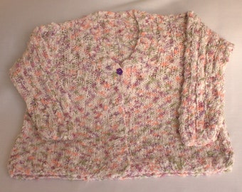 Hand Knitted Girls Multicoloured Cardigan
