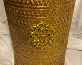 Gold Trash Can Cover, Vintage 1950s