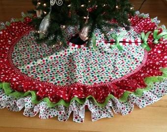 """52"""" whimsical Christmas tree skirt"""