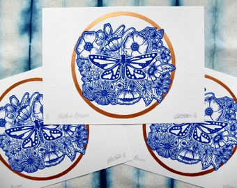 Moth on Blossom Flowers Blue and Copper Lino Print
