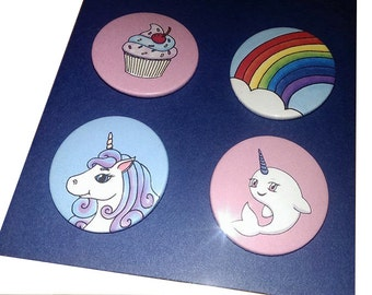 Pin Back Button - Badge - Unicorn - 4 Pack - Narwhal - Rainbow - Cupcake